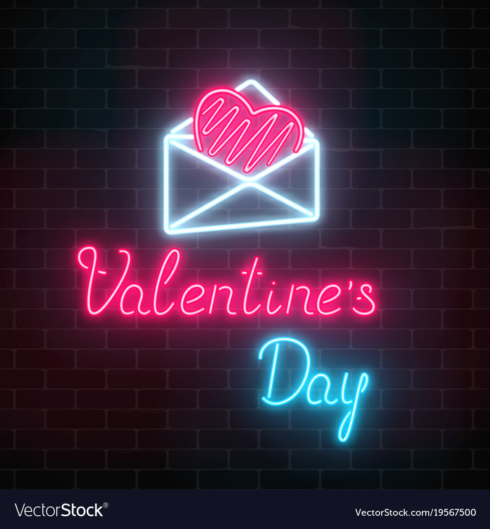 Glowing neon happy valentines day greeting sign vector image m4hsunfo