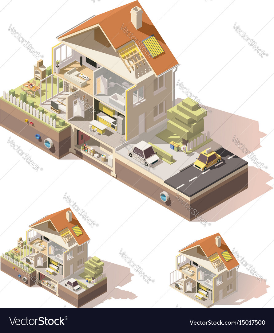 Isometric low poly house cross-section vector image