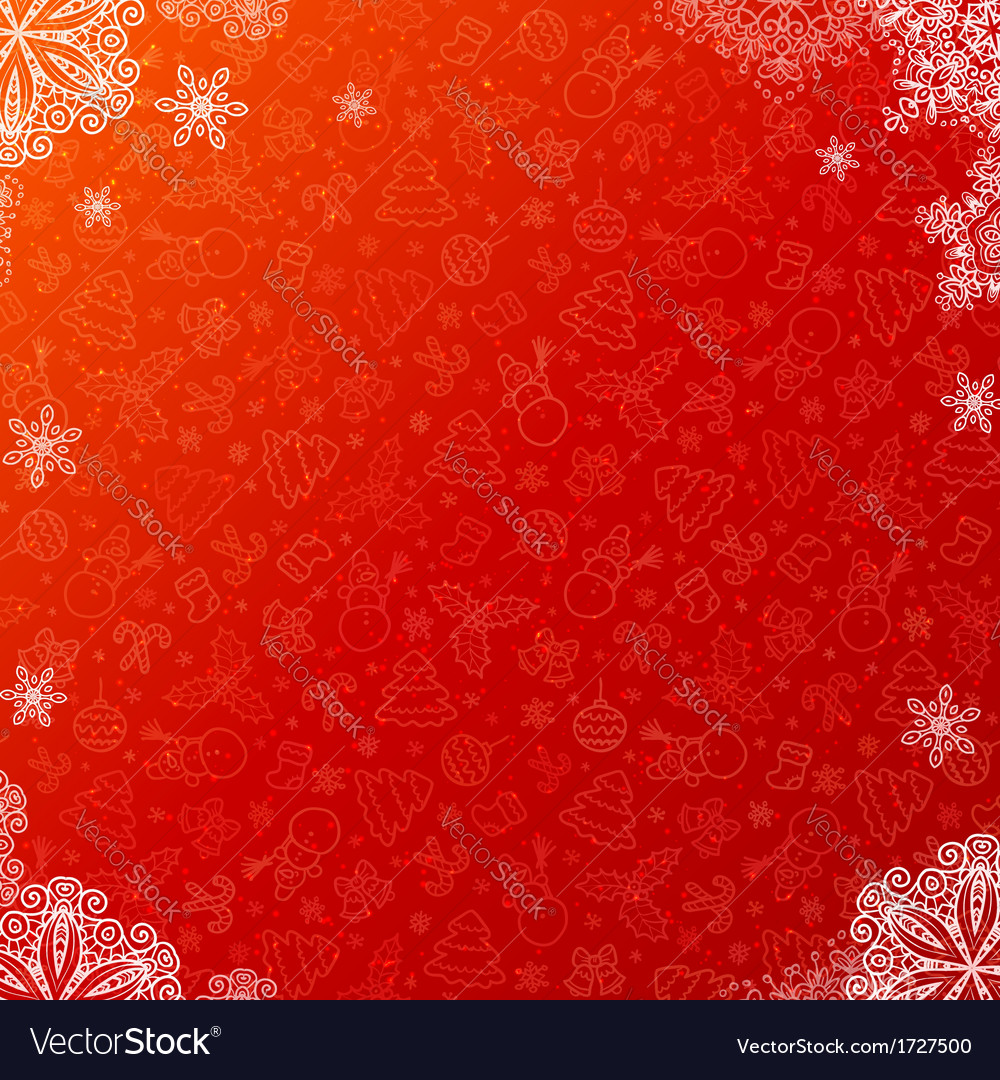 Red ornate Christmas background with snowflakes