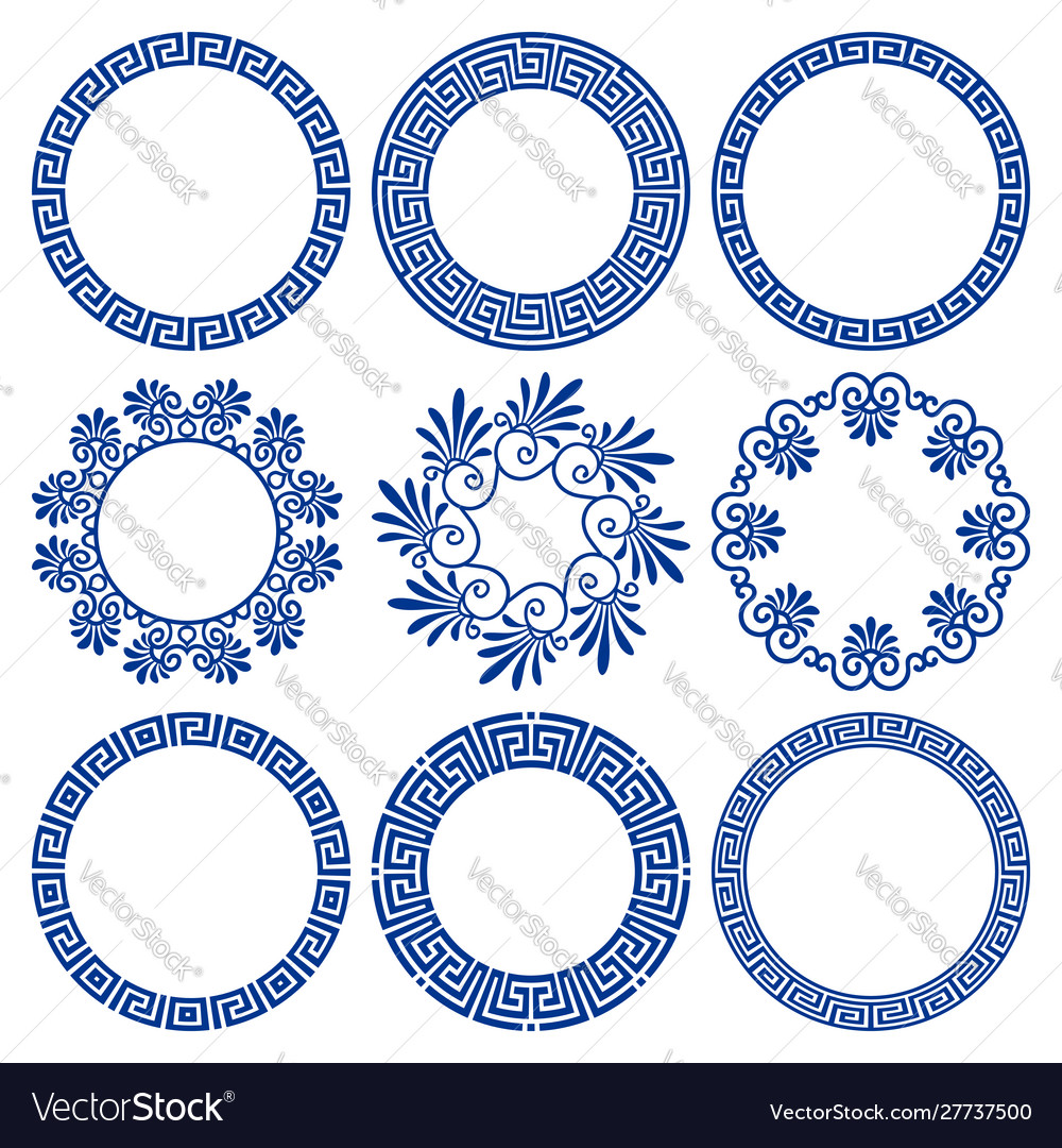 Set circle blue frames in greek style