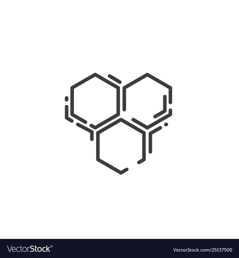 Simple line art icon three bee hexagonal