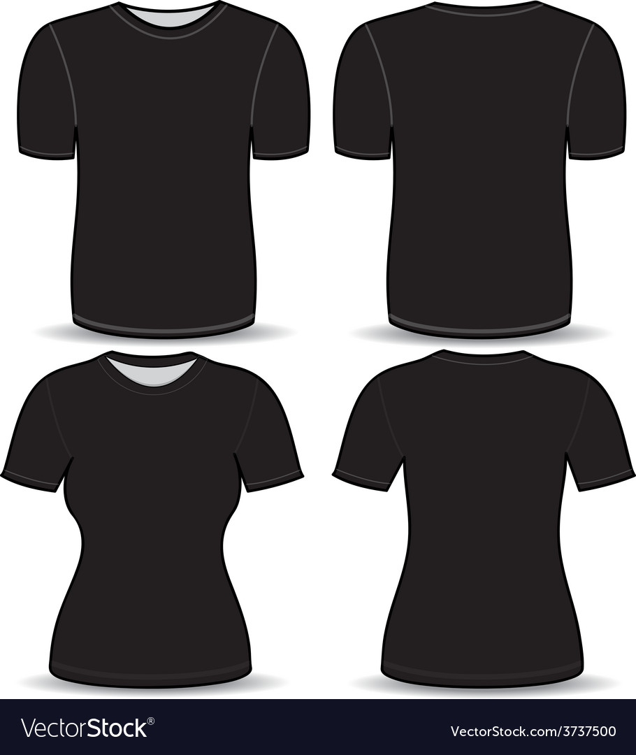 T Shirt Black Template Royalty Free Vector Image