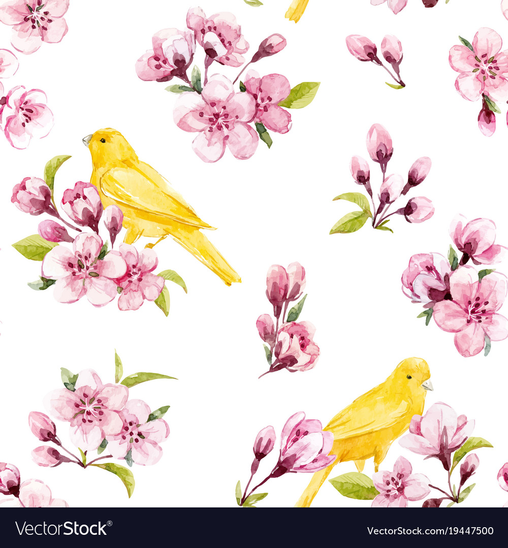 Watercolor spring floral pattern
