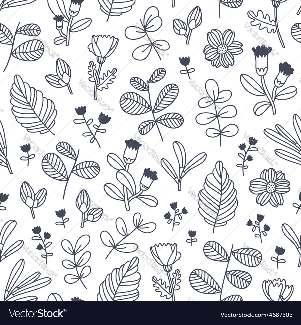 Black and white decorative floral seamless pattern