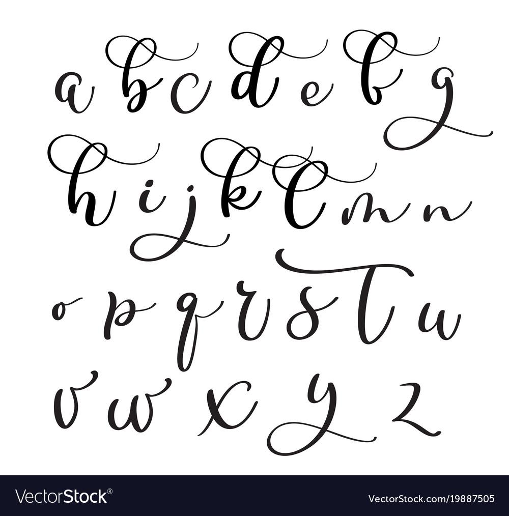 Brushpen Alphabet Modern Calligraphy Handwritten Vector Image