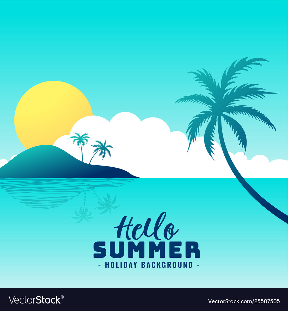 Hello summer beach paradise holiday background