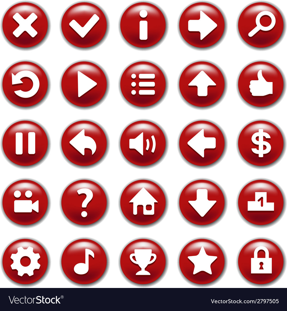 Red game buttons set