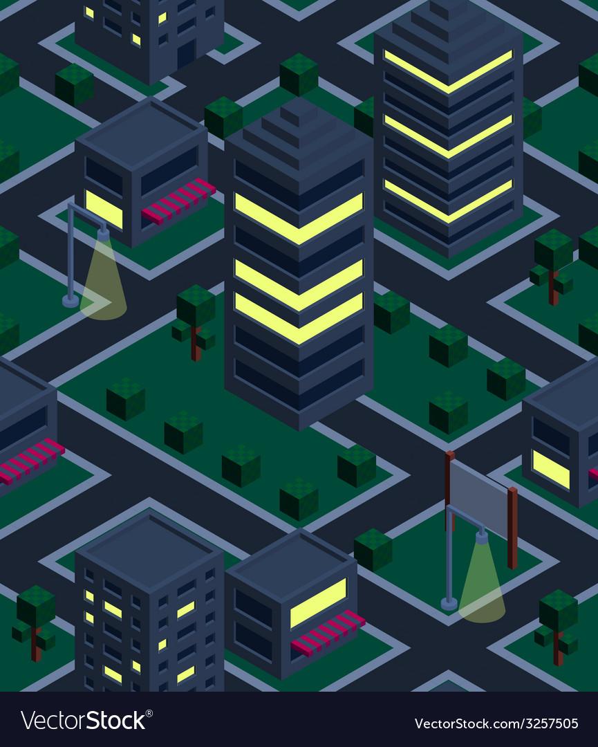 Seamless background night city Isometric