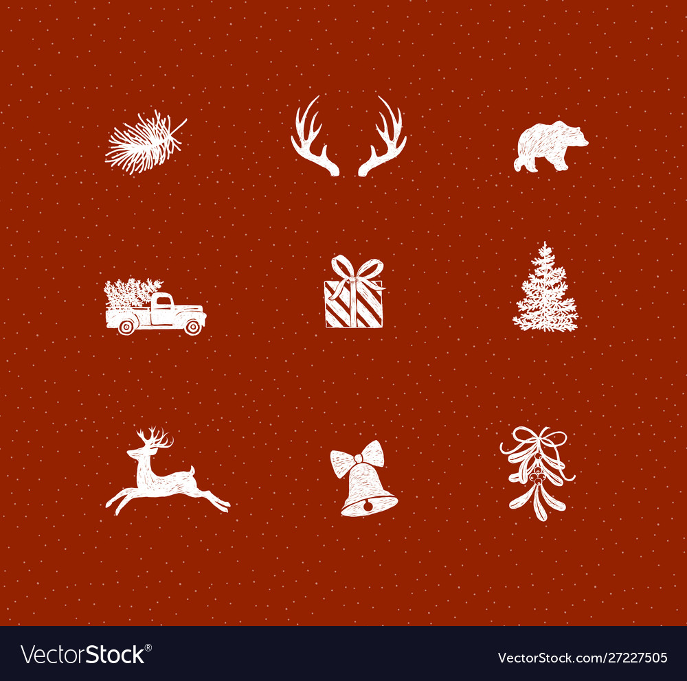 Set christmas decorative icons red