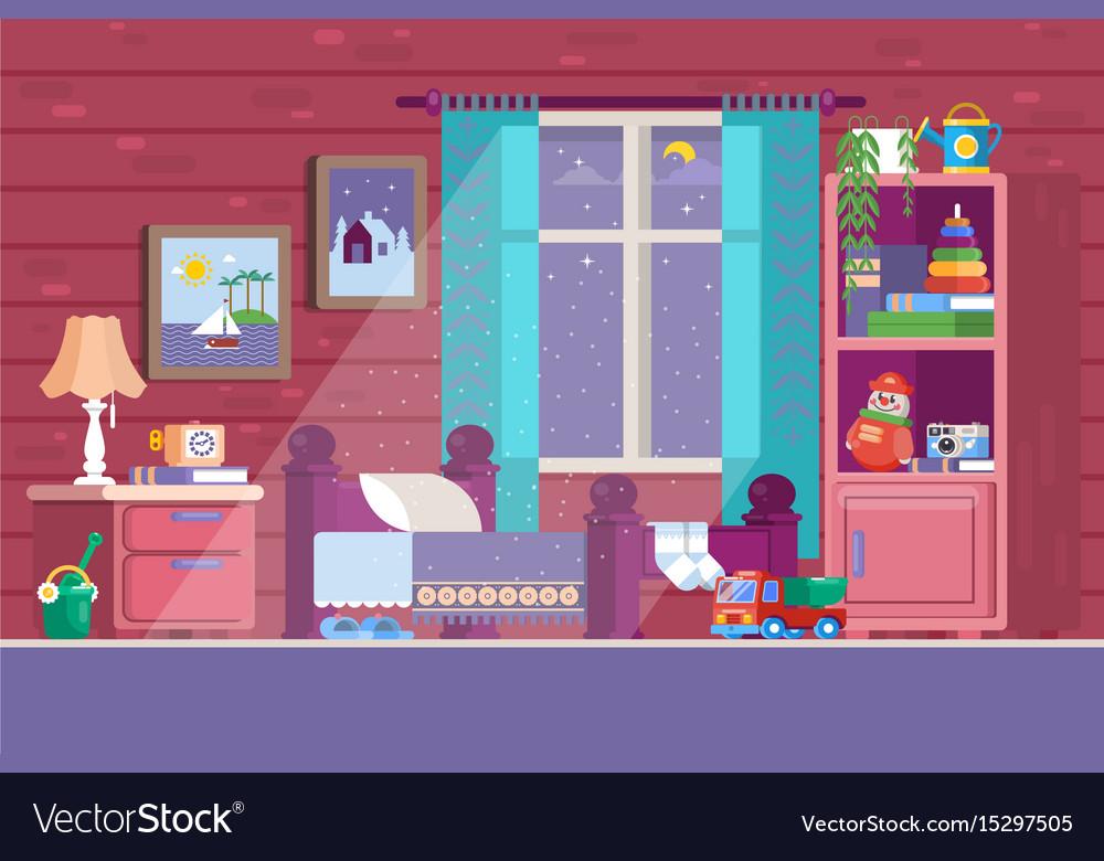 Some kid bedroom of a cartoon vector image