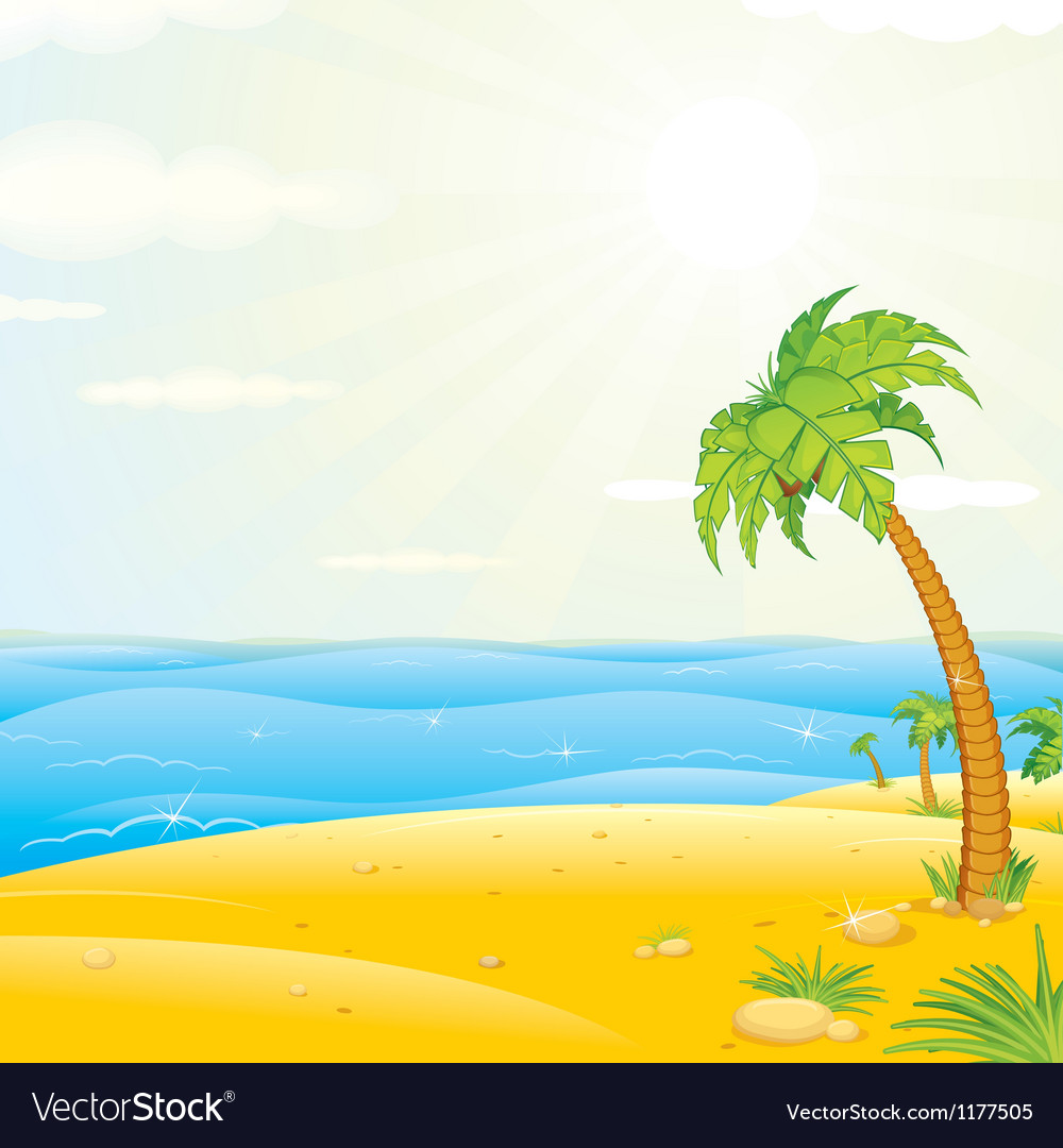 Sunny Tropical Island Beach vector image