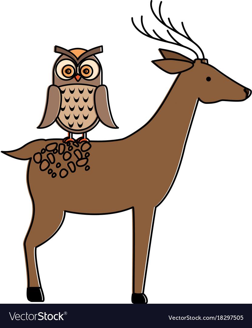 Wild deer with owl vector image