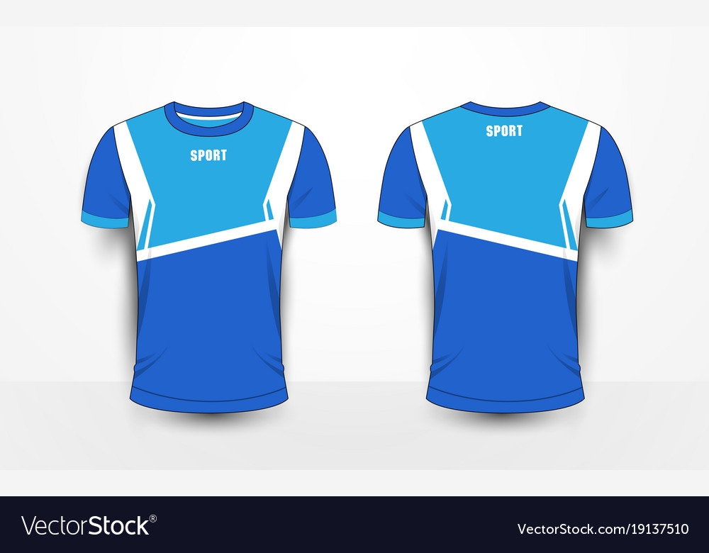 7157d674 Blue and white sport football kits jersey t-shirt Vector Image