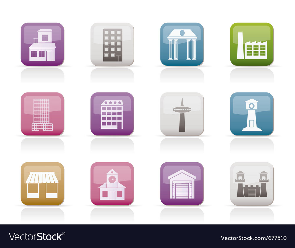 Building and city icons vector image