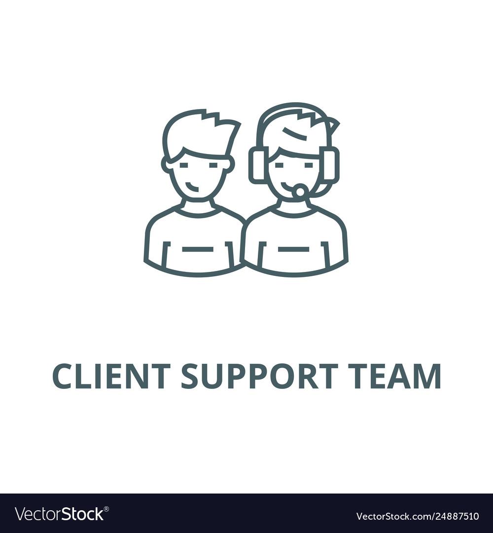 Client support team line icon client