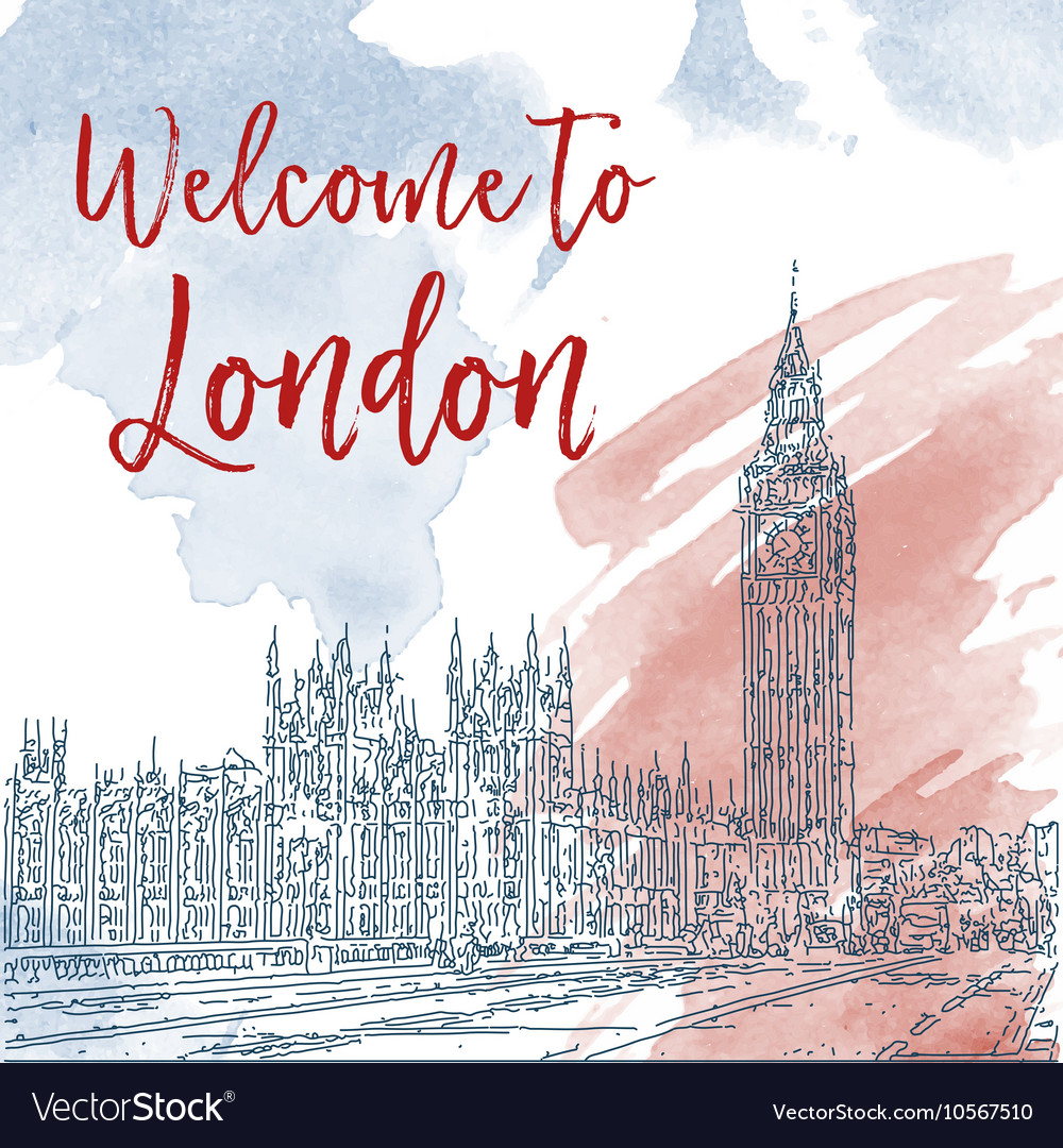 hand drawn ink line sketch of london watercolor vector image
