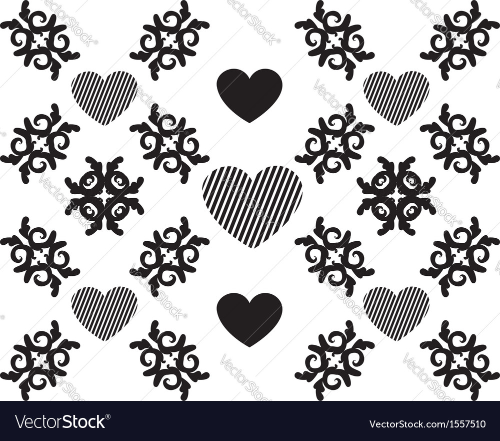Hearts and floral pattern