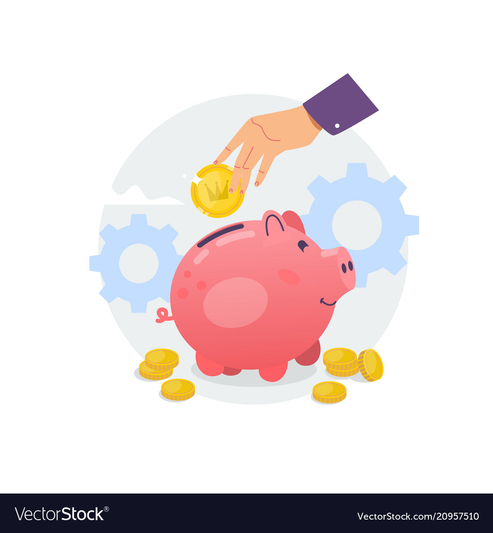 Piggy bank and hand with coin flat