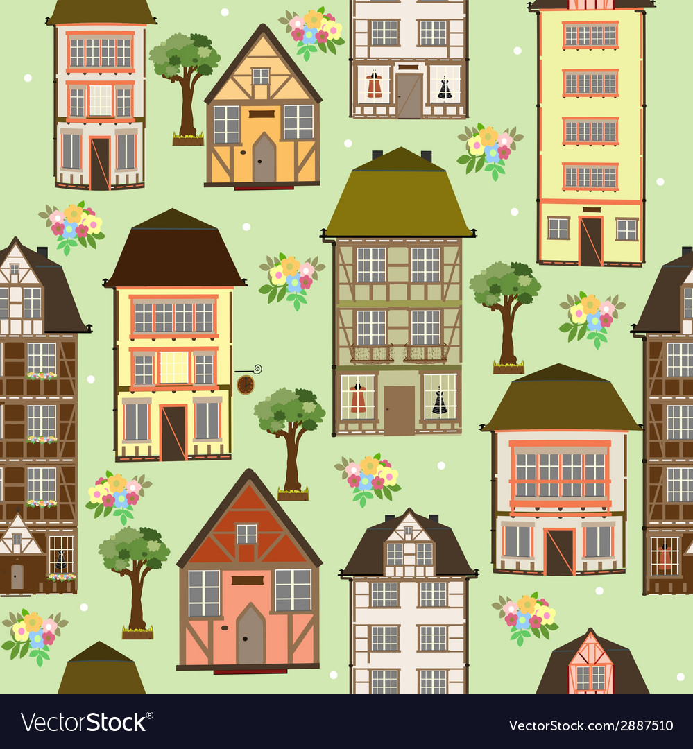 Seamless pattern of houses