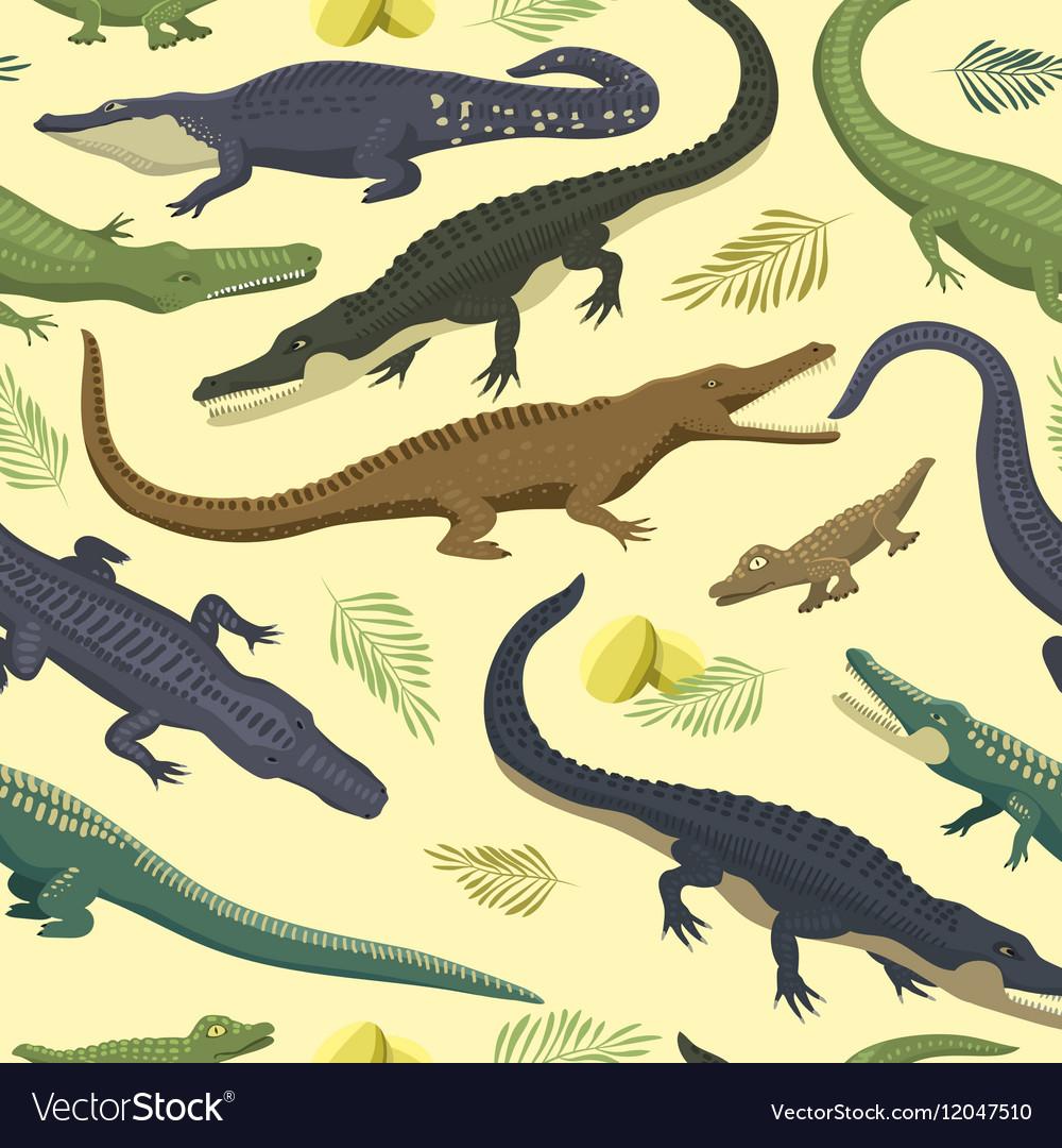 Seamless pattern with crocodile