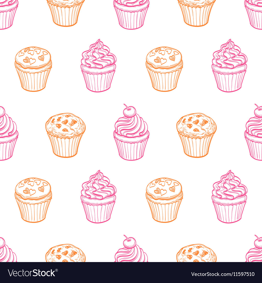 Seamless pattern with muffins and cupcakes