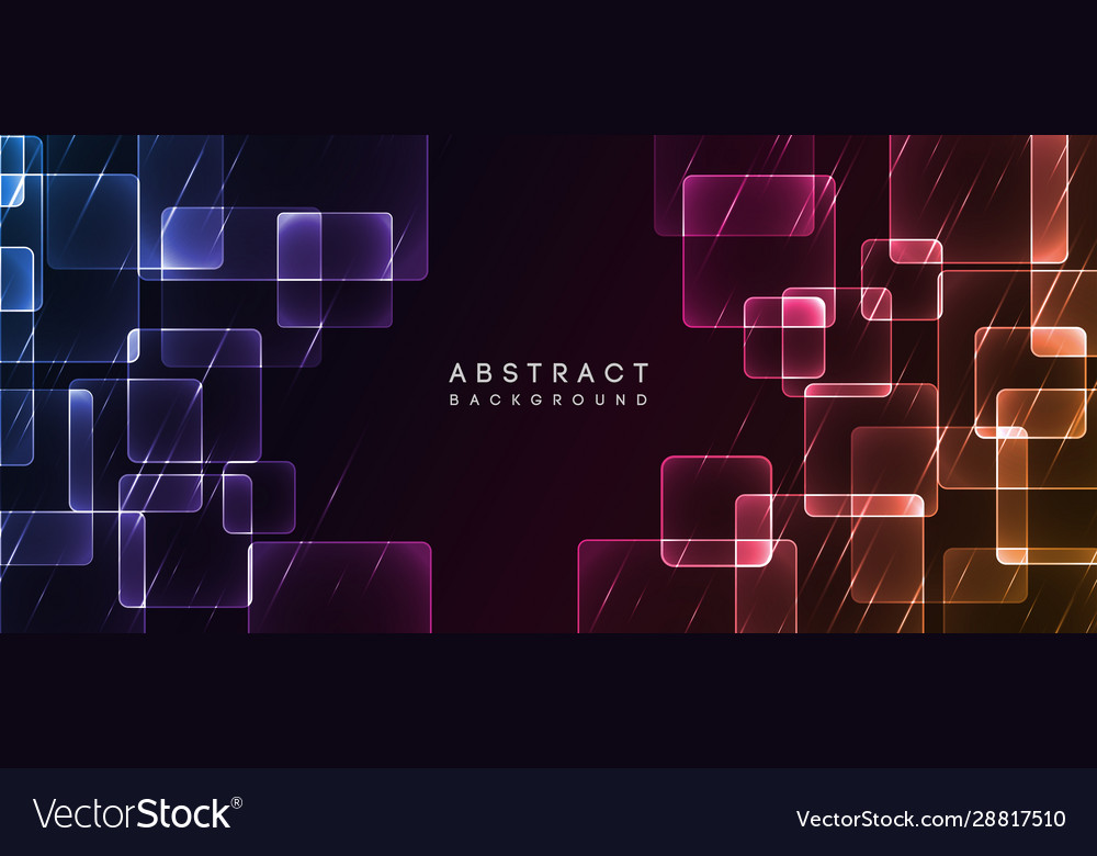 Shiny neon design square shape abstract background