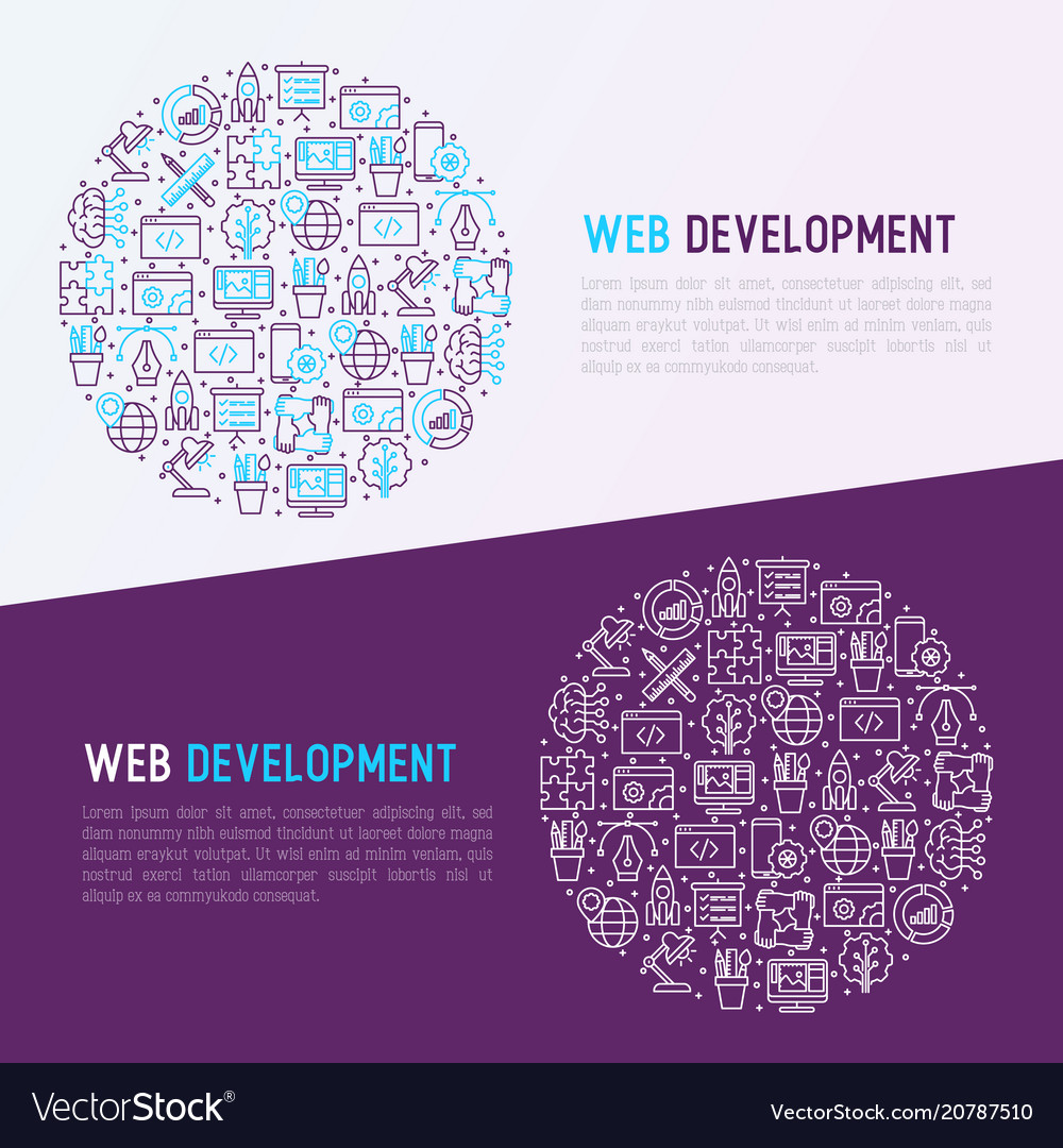 Web development concept in circle vector image