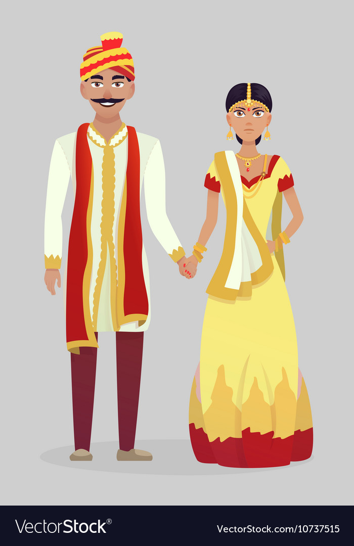 Cartoon Indian wedding couple