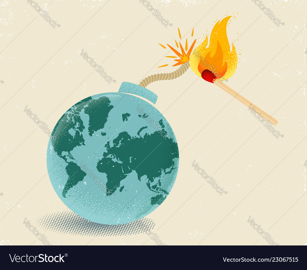 Earth like bomb with mathch in fire