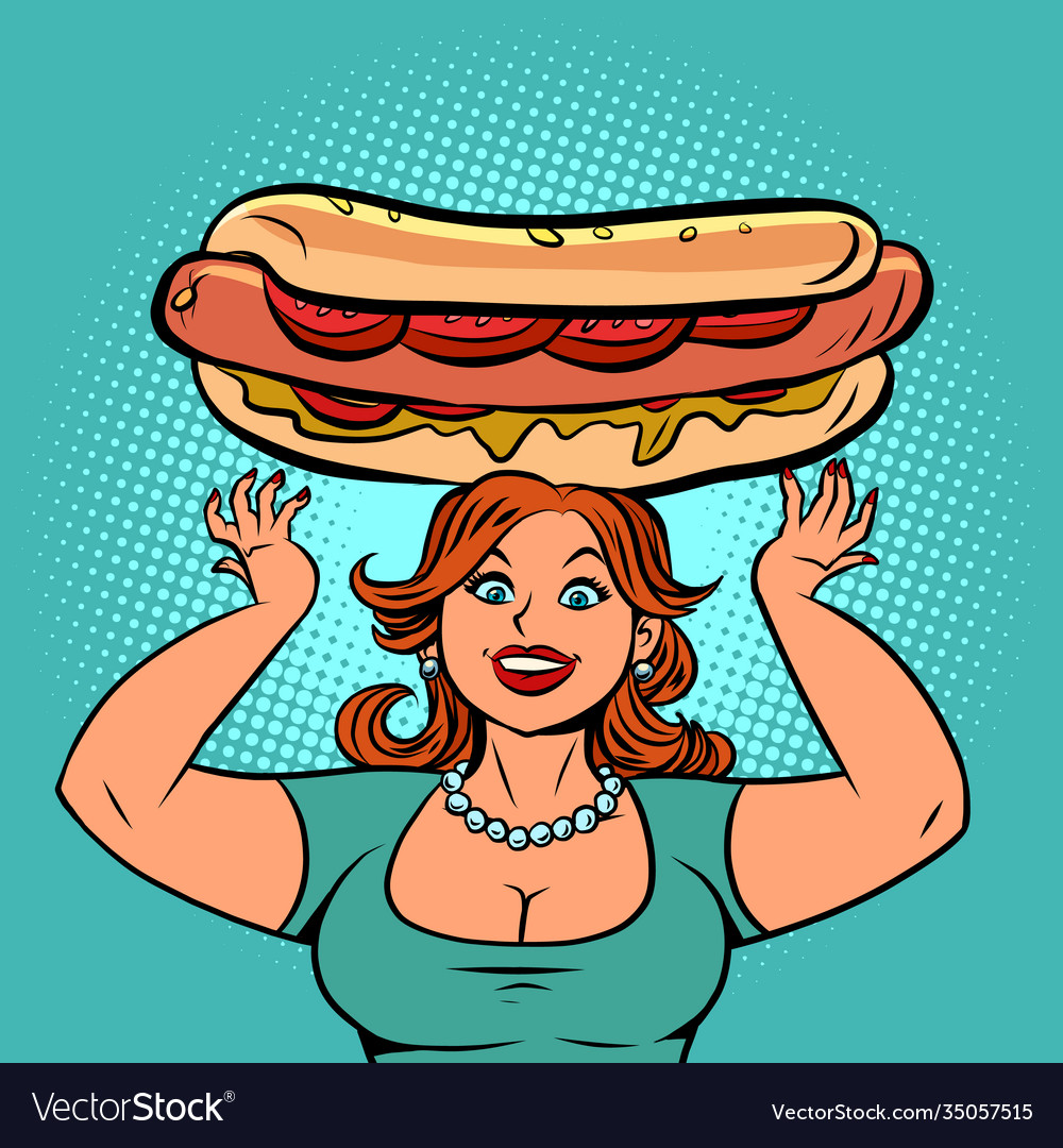 Funny woman with a big hot dog