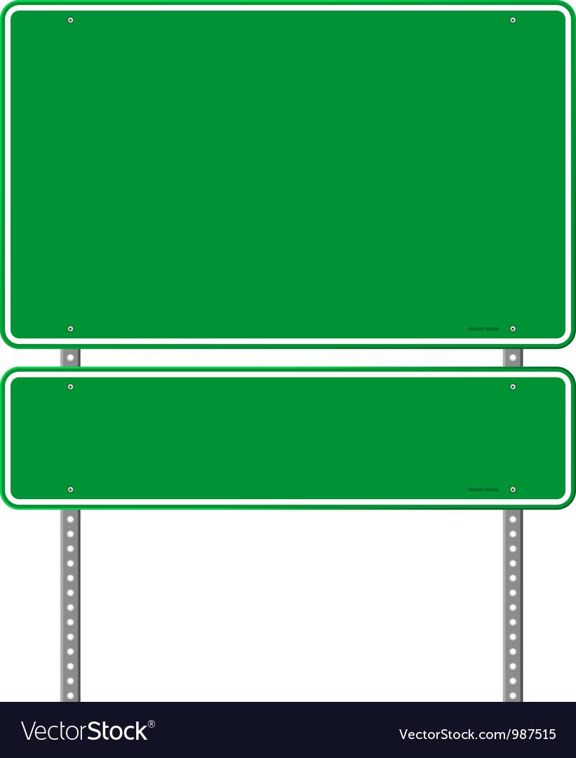 Green Blank Roadsign vector image
