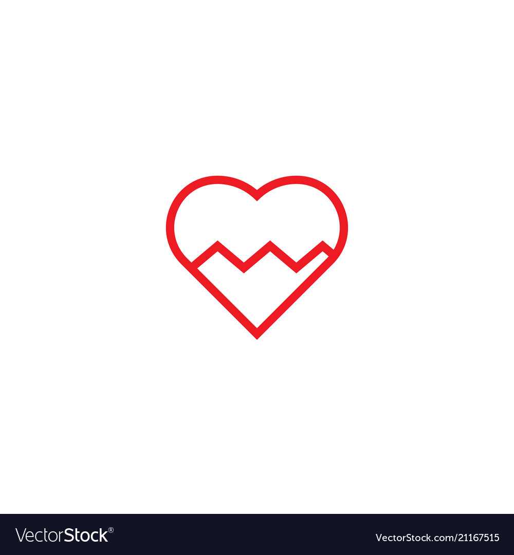 Heart pulse logo icon template