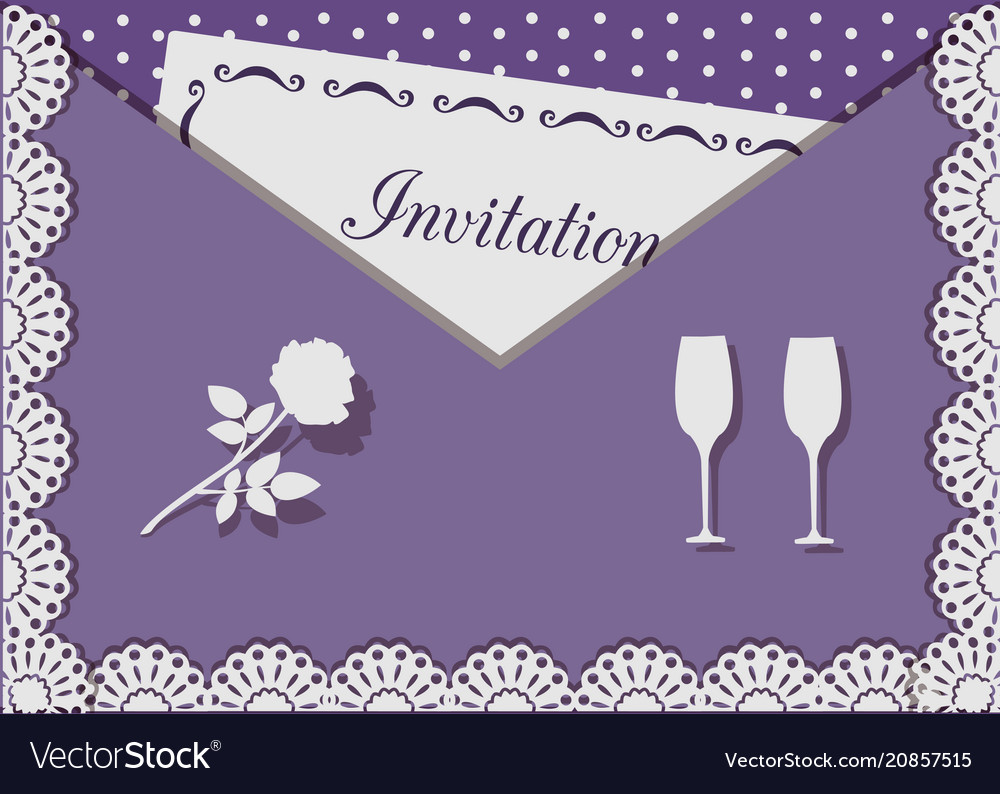 Invitation card decorated with lace on background