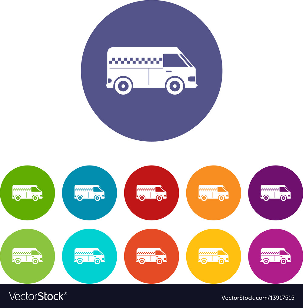 Minibus taxi set icons vector image