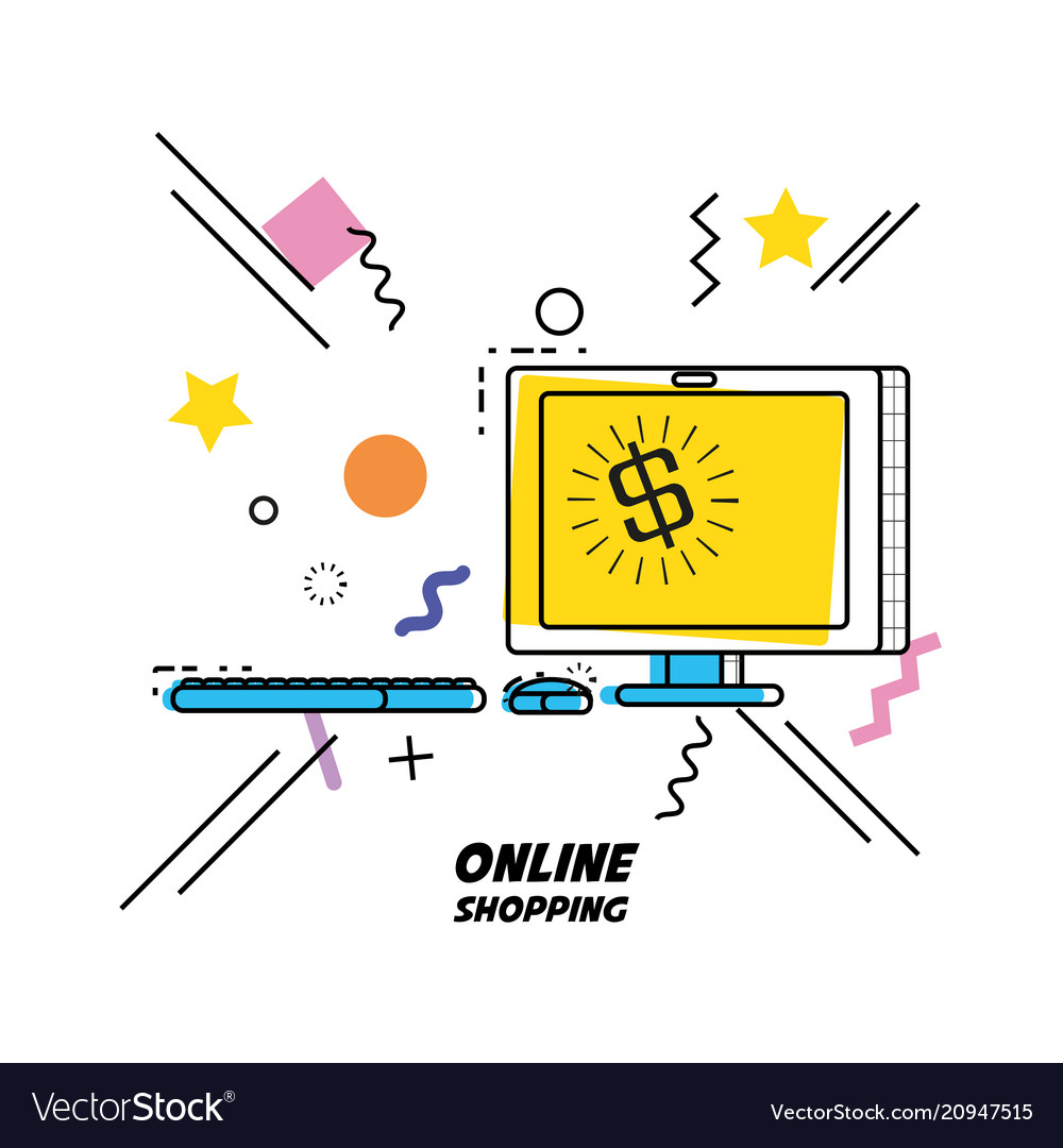Monitor computer with shopping online concept