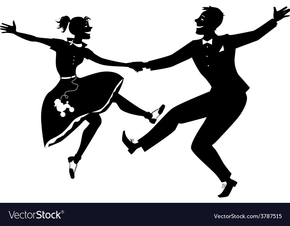 Rock and roll dancing silhouette