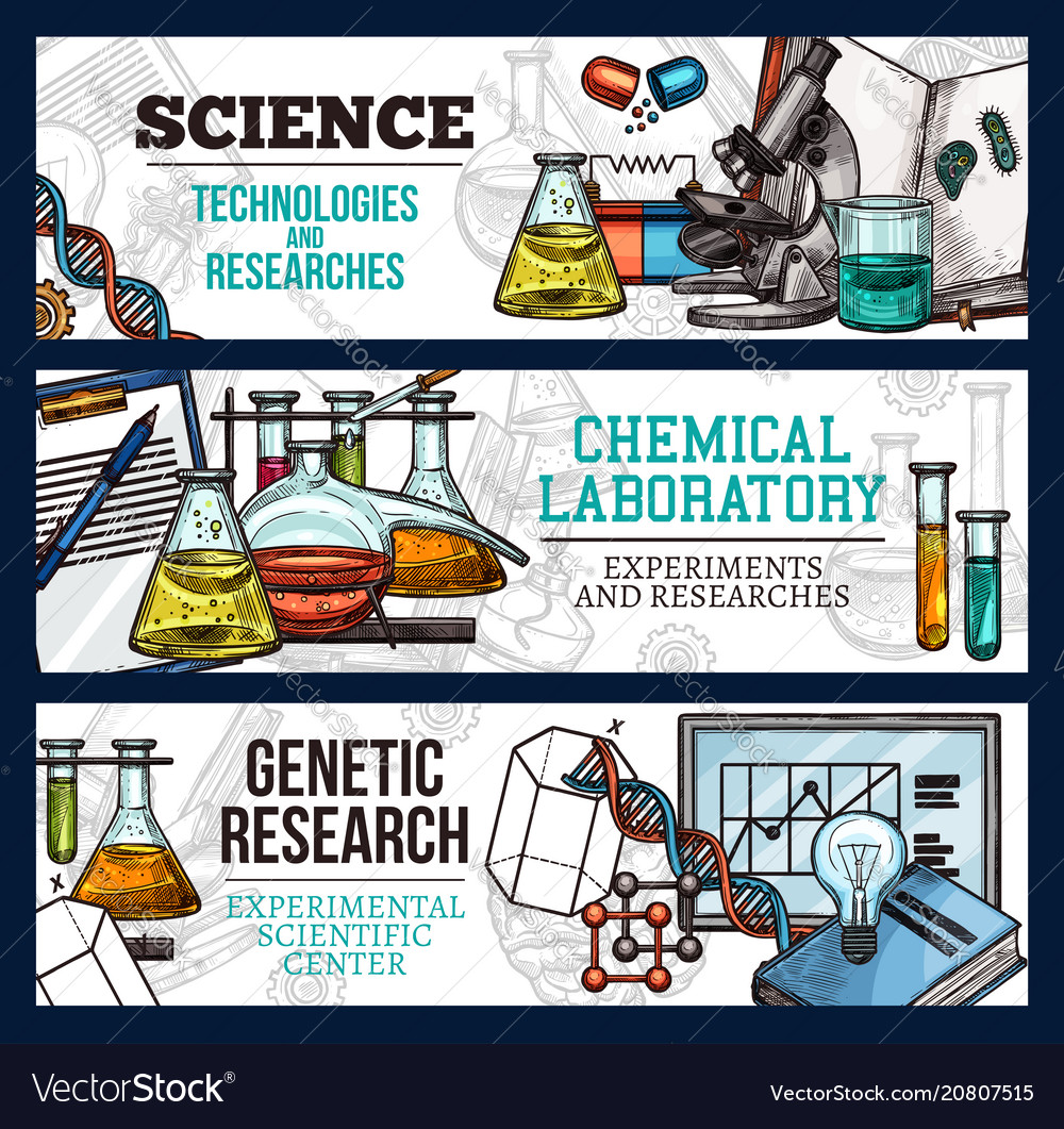 Sketch banners for science and research