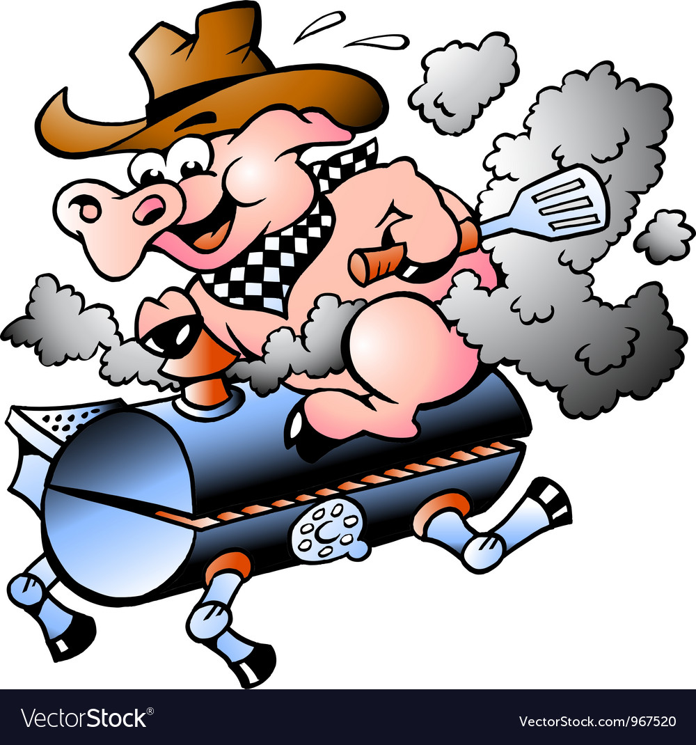 BBQ Pig riding on a grill barrel vector image