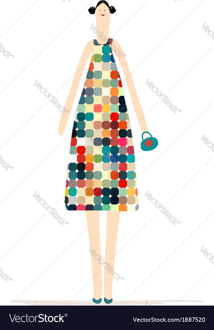 Beautiful woman in colorful dress for your design