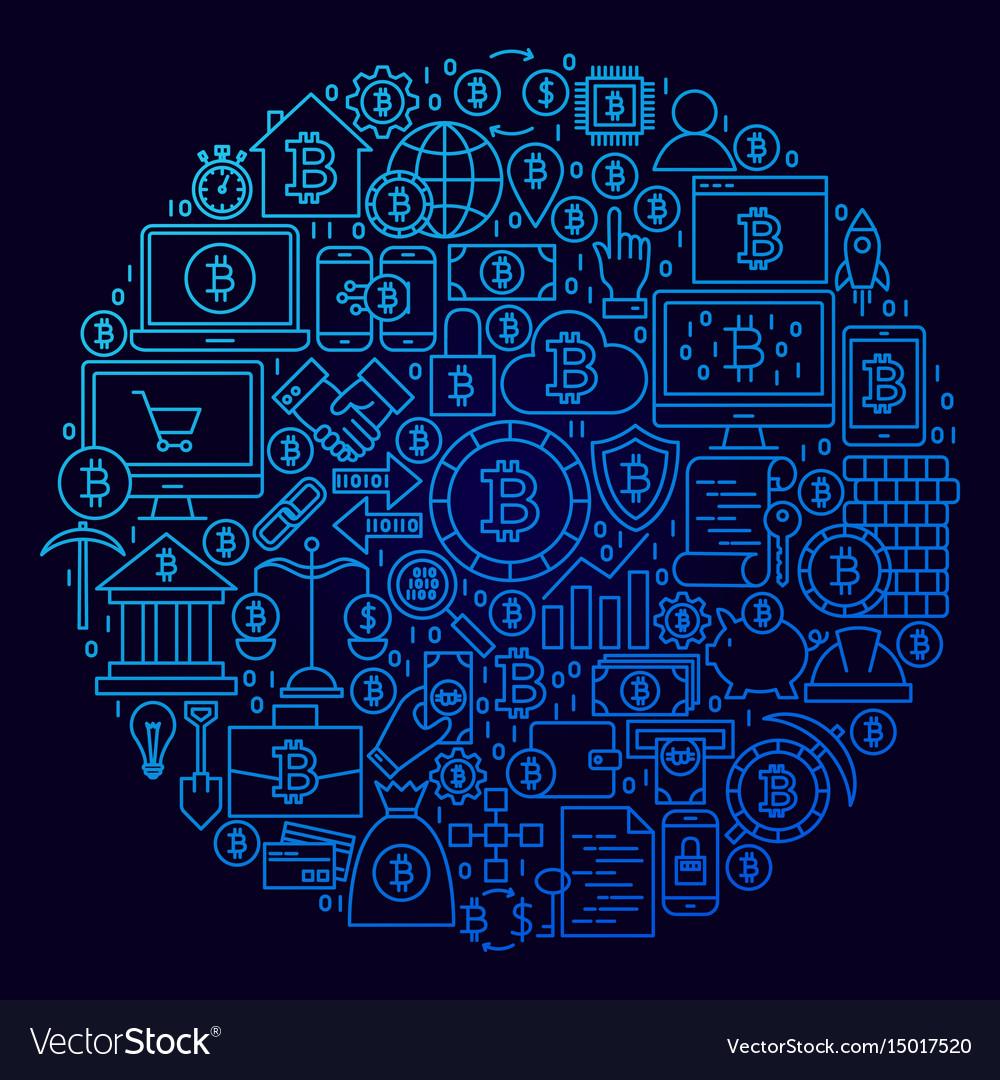 Bitcoin line icon circle concept