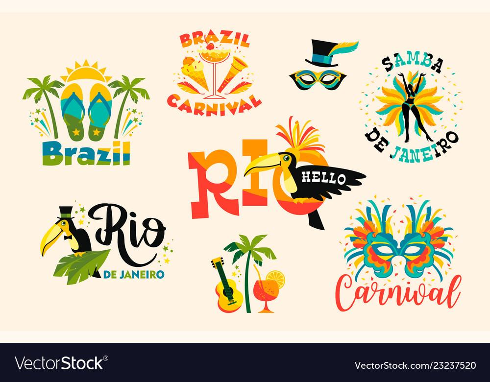 Brazilian carnival big set emblems