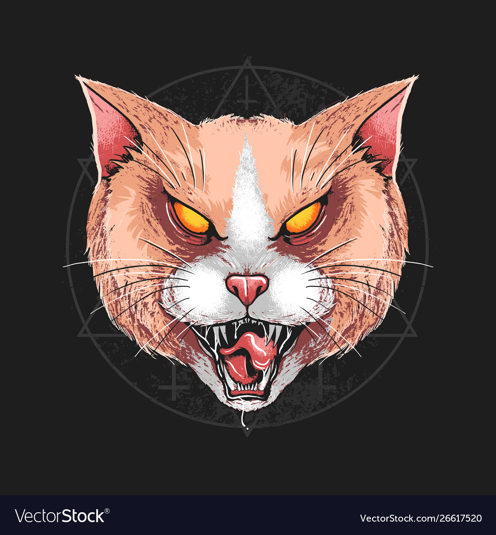 Cat angry rage face artwork