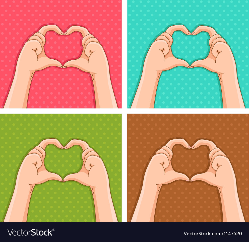 Handy hearts vector image