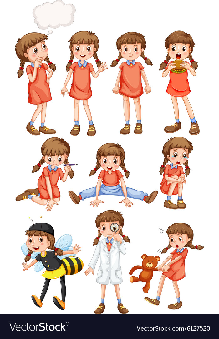 Little girl doing different activities vector image