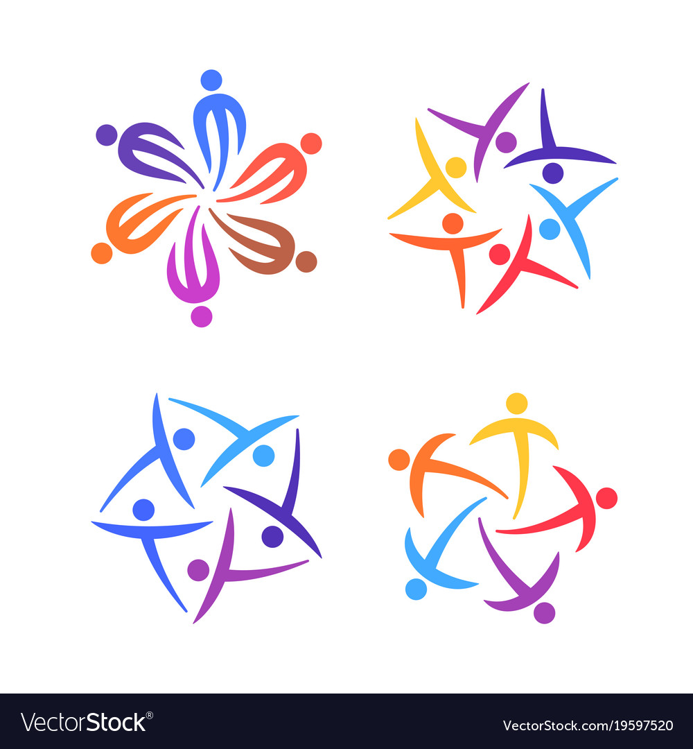 People creative logo set community team family