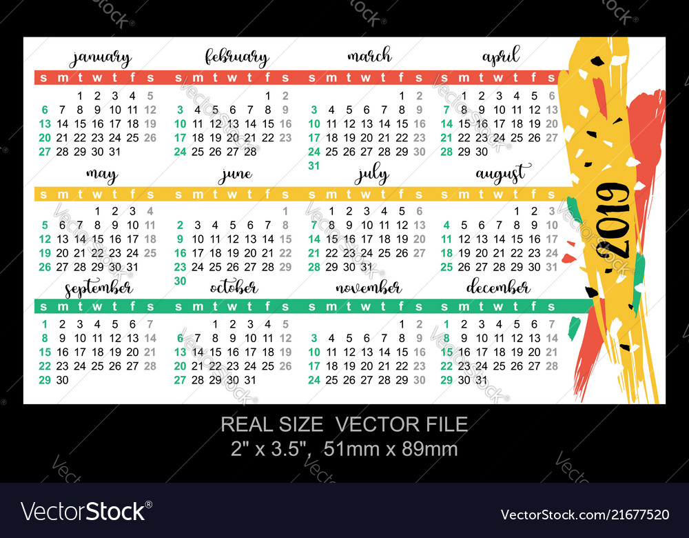 pocket calendar 2019 start on sunday royalty free vector