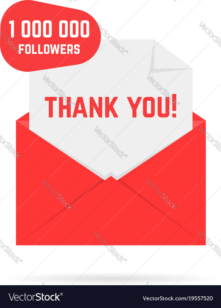 Red open envelope with 1000000 followers or