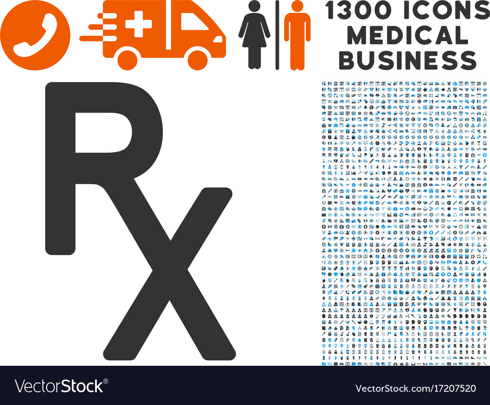 Rx Medical Symbol Icon With 1300 Medical Business Vector Image