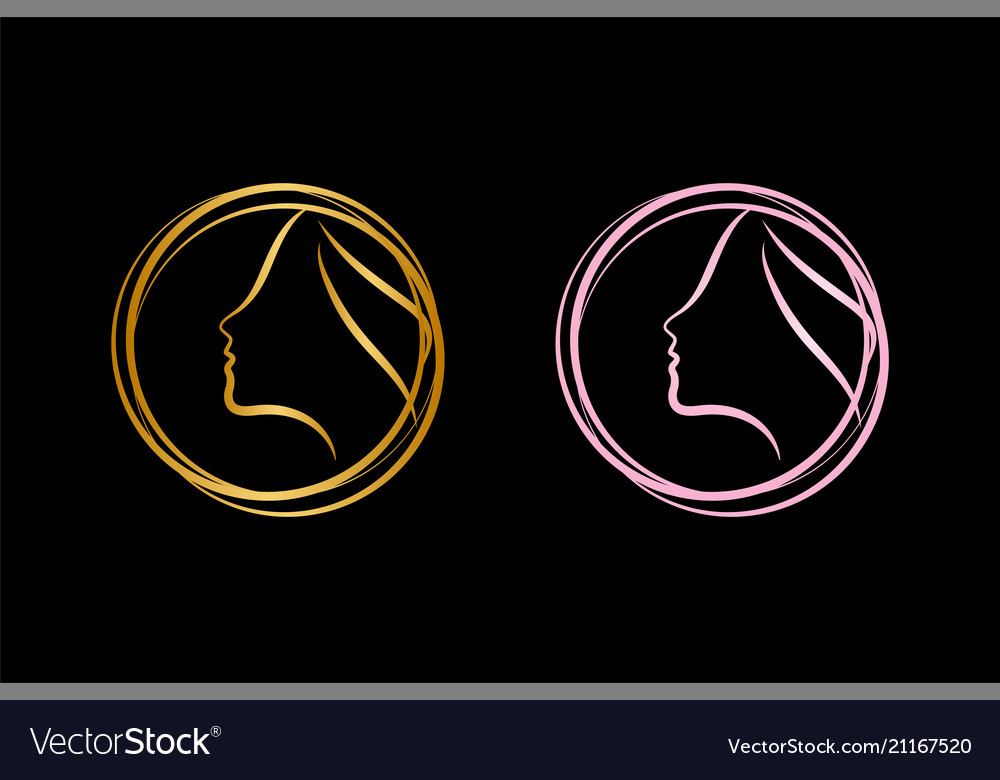 Spa aesthetic girl logo template