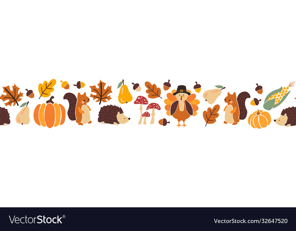 Thanksgiving animals kids border seamless